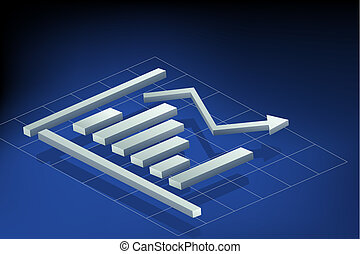 Bar Graph - illustration of bar graph on abstract background
