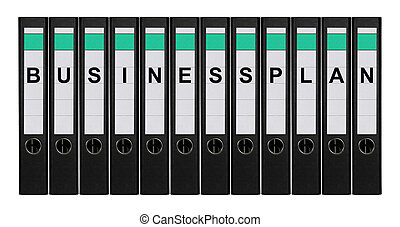 Ring binders - Twelve ring binders labeled BUSINESSPLAN...