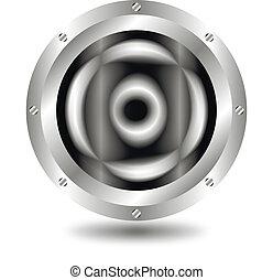 Metallic  button - A large, metallic  button - vector