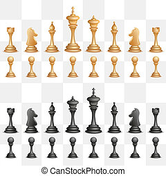 Chess Figure - illustration of set of black chess figure on...