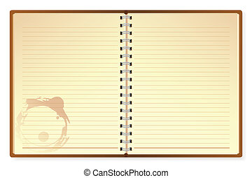 Open Diary - illustration of open diary on isolated white...