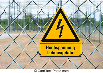 danger of death by electrocution - Signal of danger of death...