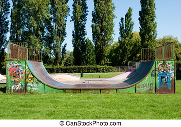 Skateboarding Park - Photo of a skateboarding and cycling...