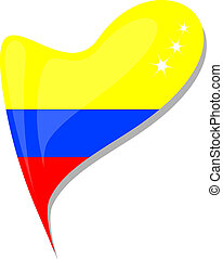 colombia flag button heart shape. vector