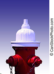 White Top Hydrant - Painted fire hydrant red with a white...