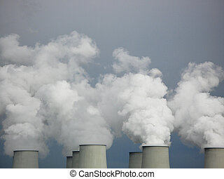 cooling towers of a coal power plant, white steam