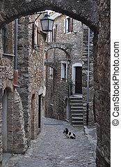 Genoa Caruggio - Caruggio of Genoa narrow streets in the old...