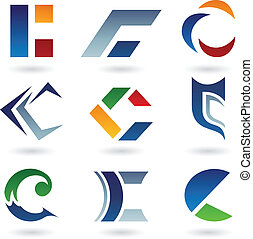 Abstract icons for letter C - Vector illustration of...