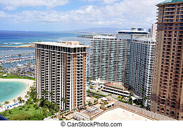Waikiki Beach. Oahu - Luxury condos along Waikiki Beach in...