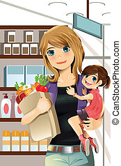 Mother and daughter shopping - A vector illustration of a...