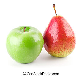 green apple and red pear isolated on white background