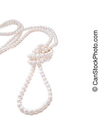 strand of pearl - strand of white pearl neacklace isolated...