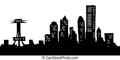 Cartoon Seattle Skyline - Cartoon skyline silhouette of...