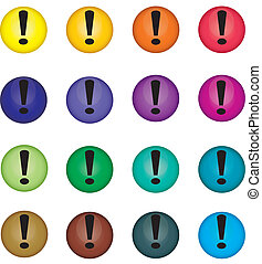 Warning buttons - Multi-coloured buttons with warning...