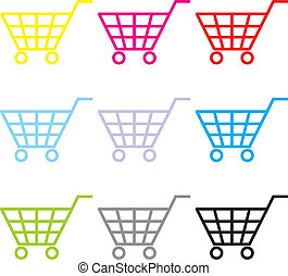 Buy Now - Multi-coloured consumer's baskets in the vector...