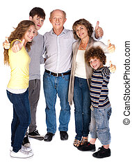 Stylish thumbs-up family over the white background