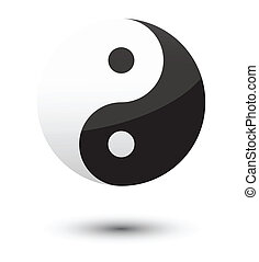 yin yang symbol as glossy icon