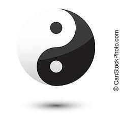yin yang symbol as glossy icon.