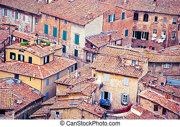 Houses of old city of Siena, Tuscany, Italy, Europe - Aerial...
