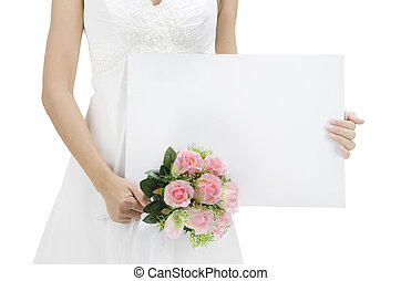Blank sign - Bride holding a empty white card, ready for...