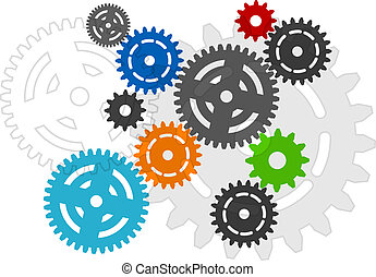 cogwheels on the white background