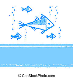 Vector card with fish