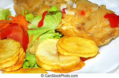 Portuguese plate of salted codfish.