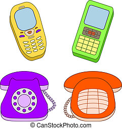 Set phones - Vector, set various phones, mobile and desktop,...