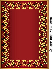 Decorative frame - Decorative framework in gold and red...