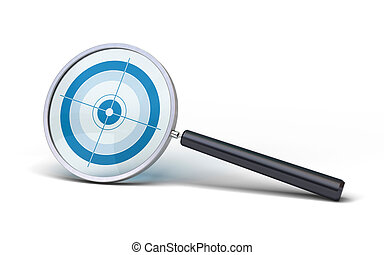 magnifying glass with a blue focus inside the glass over a white background