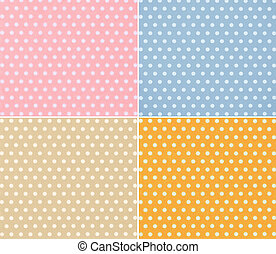 four different stylish dotted backgrounds white circles on...