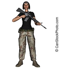 Female Desert Soldier - Female soldier in desert camoflage...
