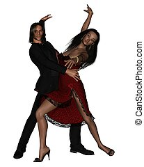 Latin Dancers - 1 - Latin dance couple, 3d digitally...