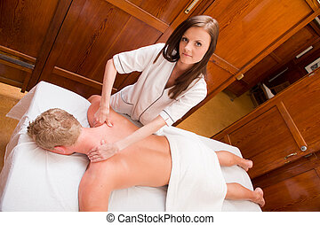 Professional Massage Therapist - Overhead portrait of a...