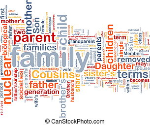 Background concept wordcloud illustration of family