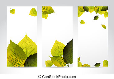 Fresh natural vertical banners with leafs