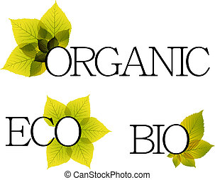 Bio, organic and eco labels with floral elements