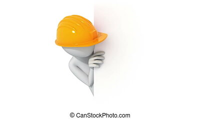 Thumbs Up! 3d man in a hard hat,  3d animation