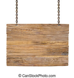 sign - blank wooden sign hanging on a chain. isolated on...