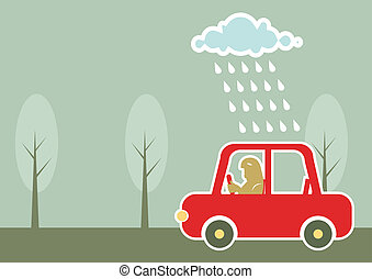 man driving by car under raining cloud.Vector background