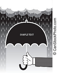 Hand holding umbrella under big rain.Vector background for...