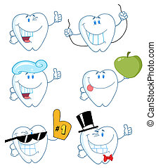 Happy Tooth Characters - Tooth Cartoon Characters-Vector...