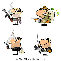 Gangsters - Collection of four gangsters with guns