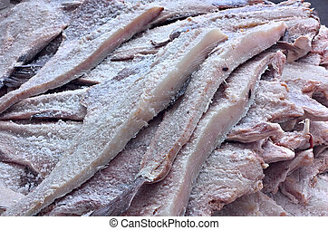 dried salted cod - fillets of fish preserved in salt