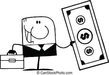 Black And White Doodle Businessman - Black And White Cartoon...