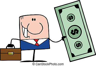 Cartoon Doodle Businessman - Doodle Businessman Holding...