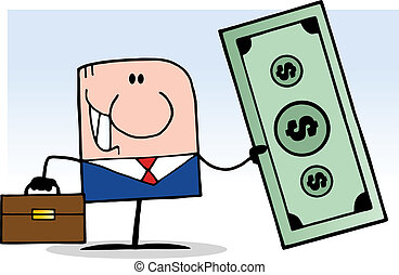 Cartoon Businessman Holding Dollar - Cartoon Doodle...