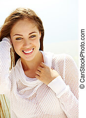 Summer mood - Image of happy female looking at camera on...