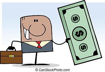 African Businessman Holding Dollar - African American...