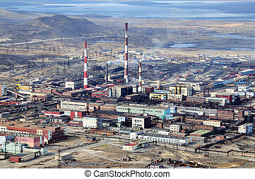Factory - Industrial area. Metallurgical factory. The view...